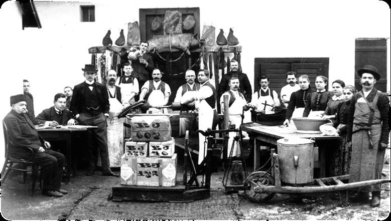 Balogh József gyulai húsüzeme 1910 körül